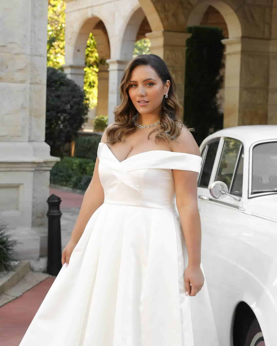 Plus Size Bridal Gowns and Wedding Dresses Perfect for Curvy Brides Ivory Off Shoulder Satin Dress 2