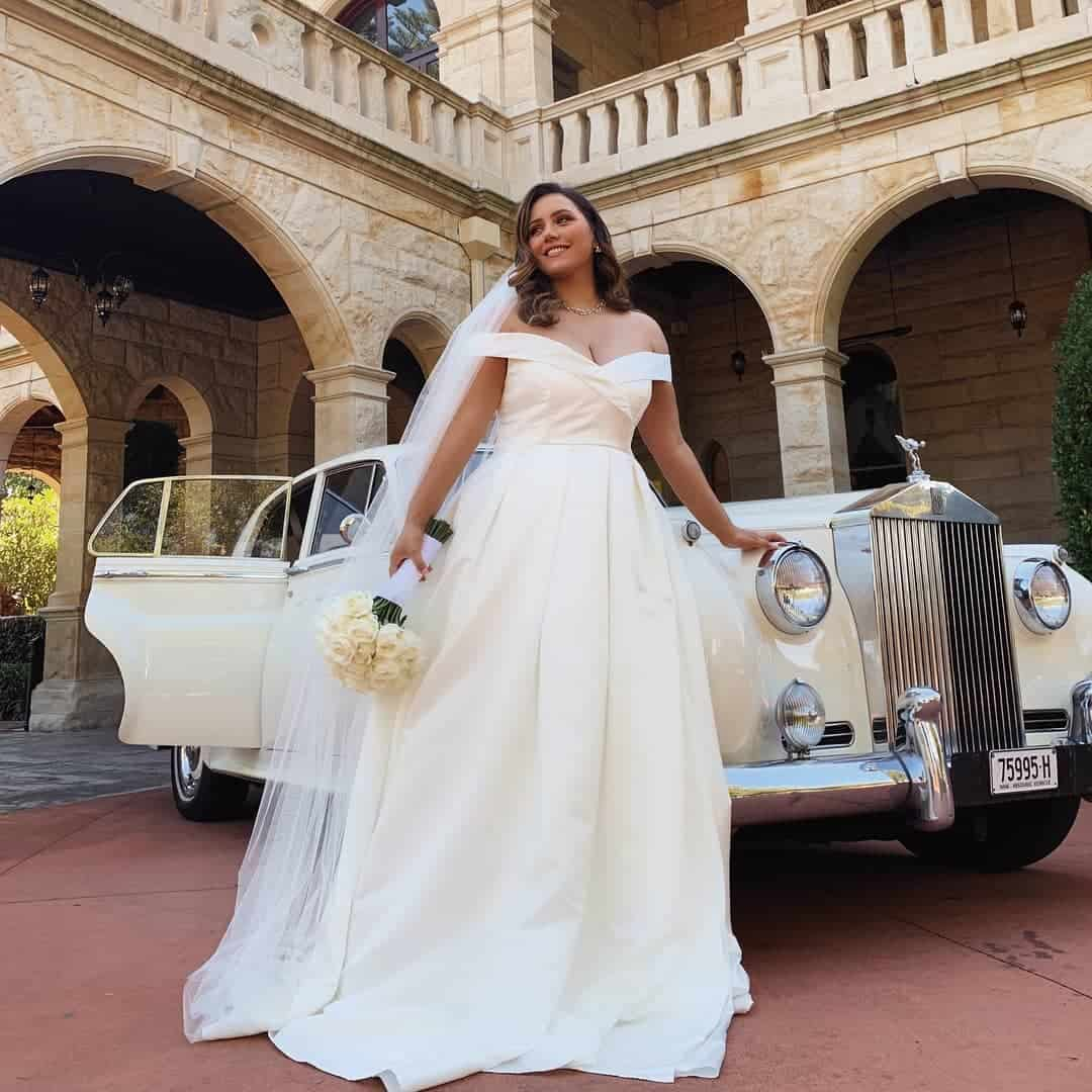 Plus Size Bridal Gowns and Wedding Dresses Perfect for Curvy Brides Ivory Off Shoulder Satin Dress 3