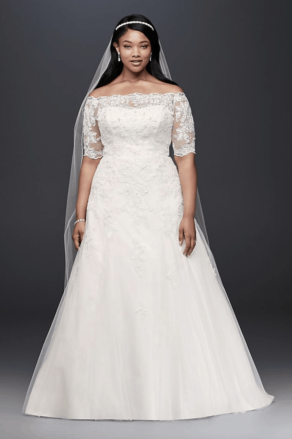 Plus Size Bridal Gowns with Lace Sleeves Jewel 3:4 Sleeve Plus Size Wedding Dress