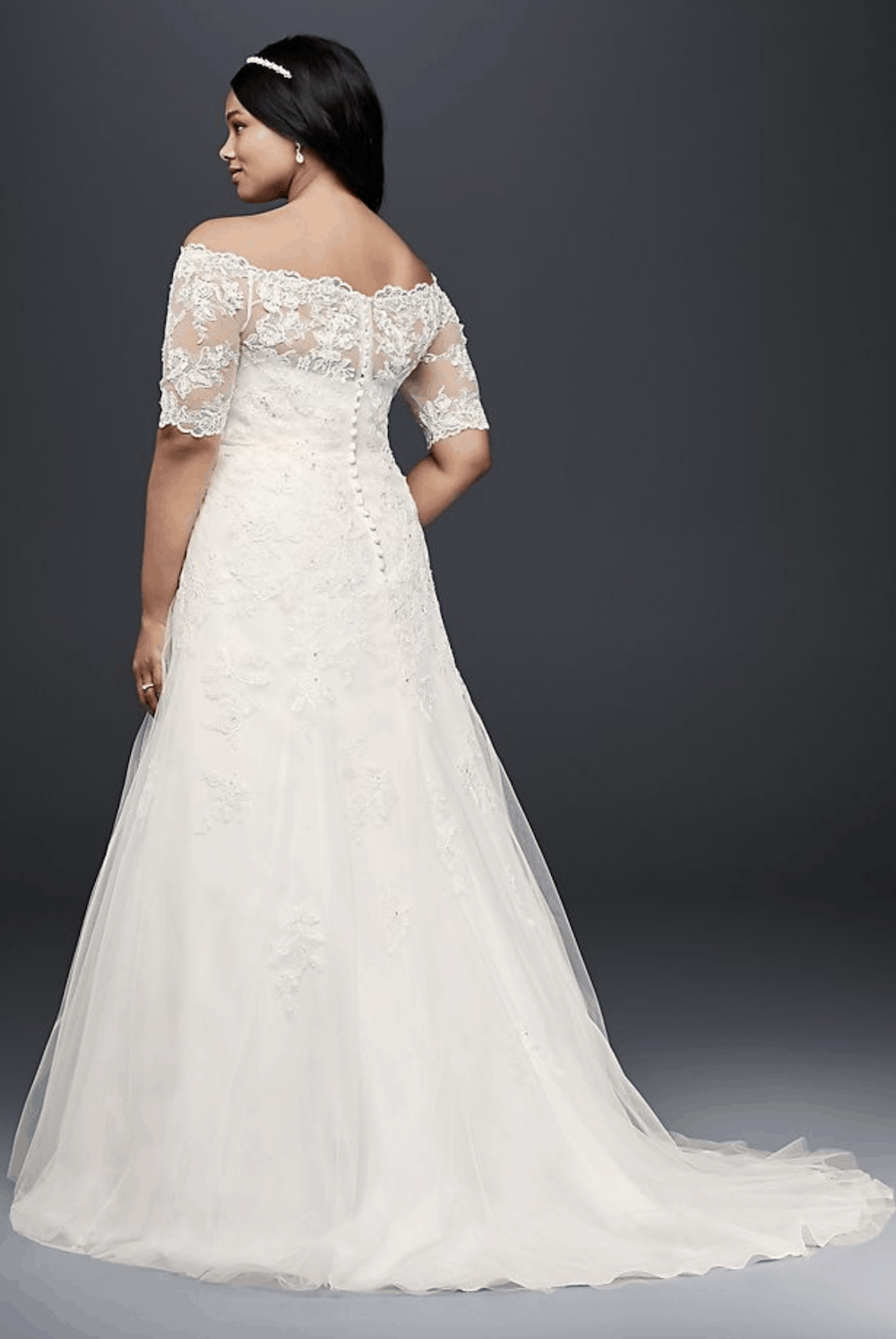 Plus Size Wedding Dresses with Lace Sleeves Jewel 3:4 Sleeve Plus Size Bridal Gowns