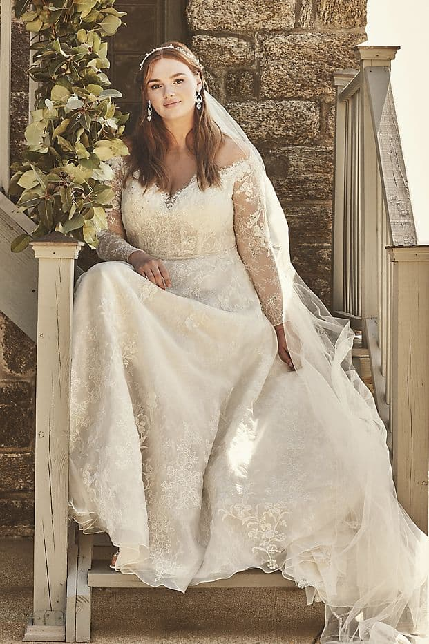 Plus Size Wedding Dresses with Lace Sleeves for Curvy Brides Oleg Cassini Bridal Gowns
