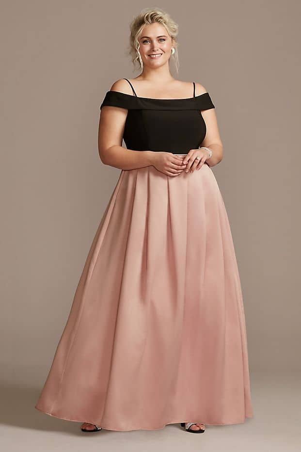 Plus Size Wedding Guest Dresses Black Blush Pink Pocketed Skirt Curvy Girl Outfits for Wedding 2