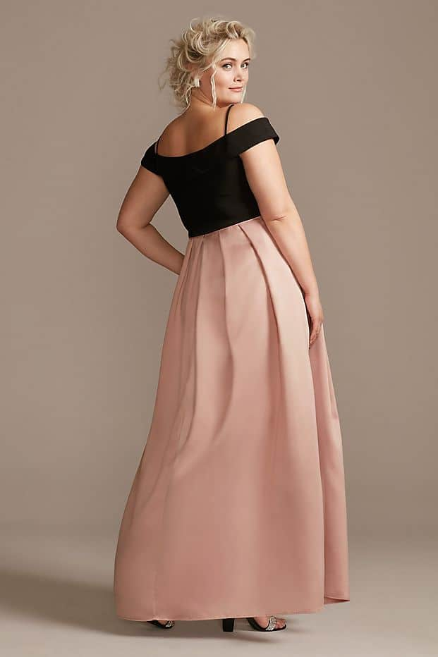 Plus Size Wedding Guest Dresses Black Blush Pink Pocketed Skirt Curvy Girl Outfits for Wedding 3