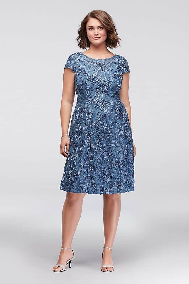 Plus Size Wedding Guest Dresses Blue Cap Sleeves Dress Curvy Girl Outfits for Wedding