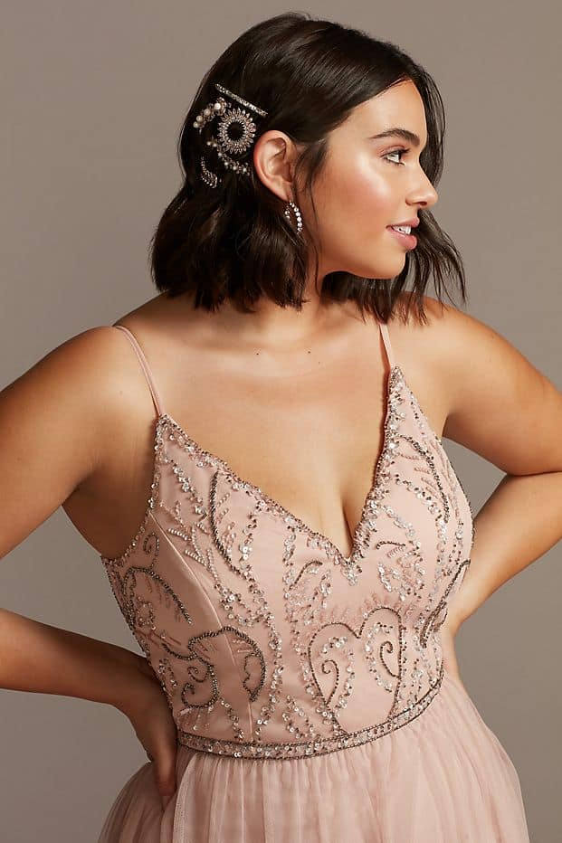 Plus Size Wedding Guest Dresses Blush Beaded Bodice Gown Curvy Girl Outfits for Wedding 2