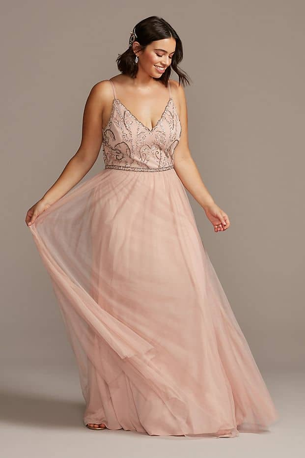 Plus Size Wedding Guest Dresses Blush Beaded Bodice Gown Curvy Girl Outfits for Wedding