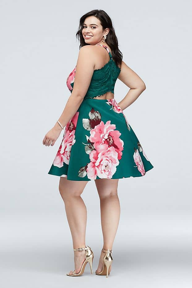 Plus Size Wedding Guest Dresses Green Floral Skater Dress Curvy Girl Outfits for Wedding 2
