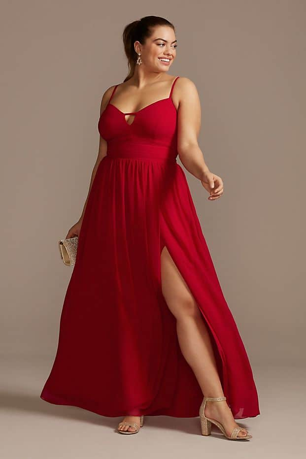Plus Size Wedding Guest Dresses Red Split Maxi Dress Curvy Girl Outfits for Wedding 2