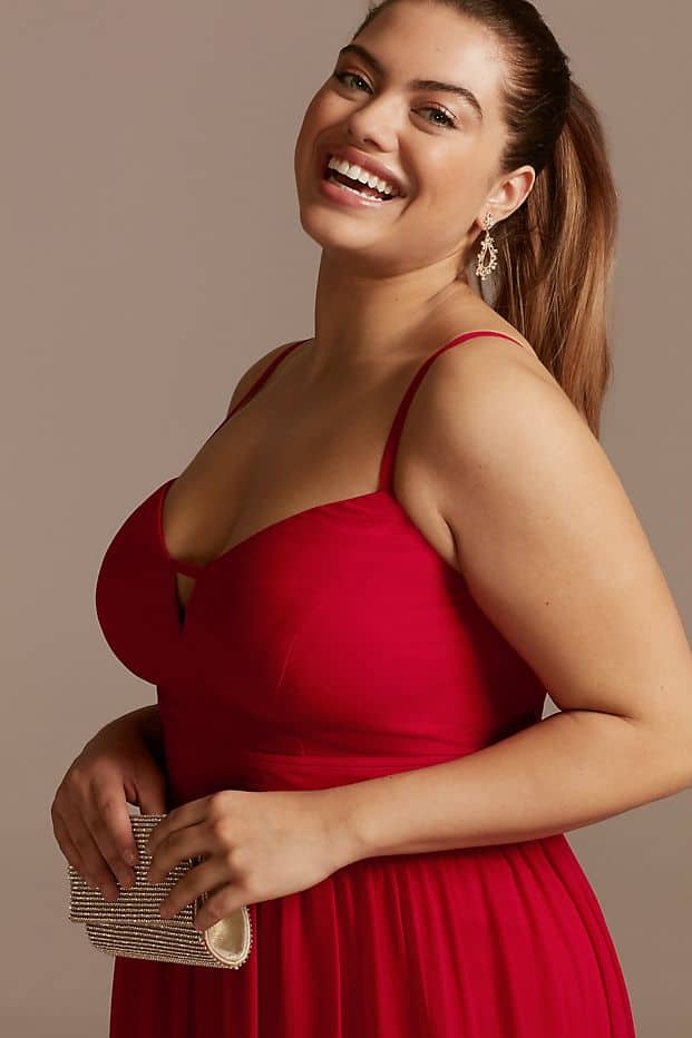 Plus Size Wedding Guest Dresses Red Split Maxi Dress Curvy Girl Outfits for Wedding