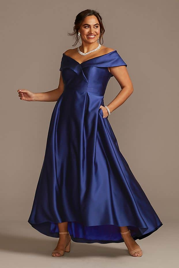 Plus Size Wedding Guest Dresses Satin Royal Blue Ball Gown Curvy Girl Outfits for Wedding 2