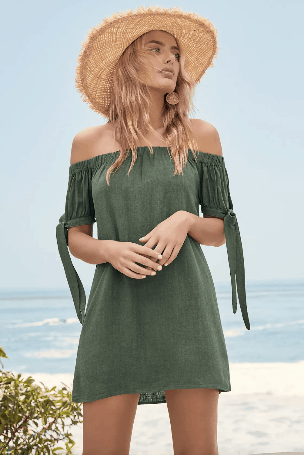 Positano Outfits Cute Dresses Al Fresco Evenings Olive Green Off The Shoulder Dress Lulus