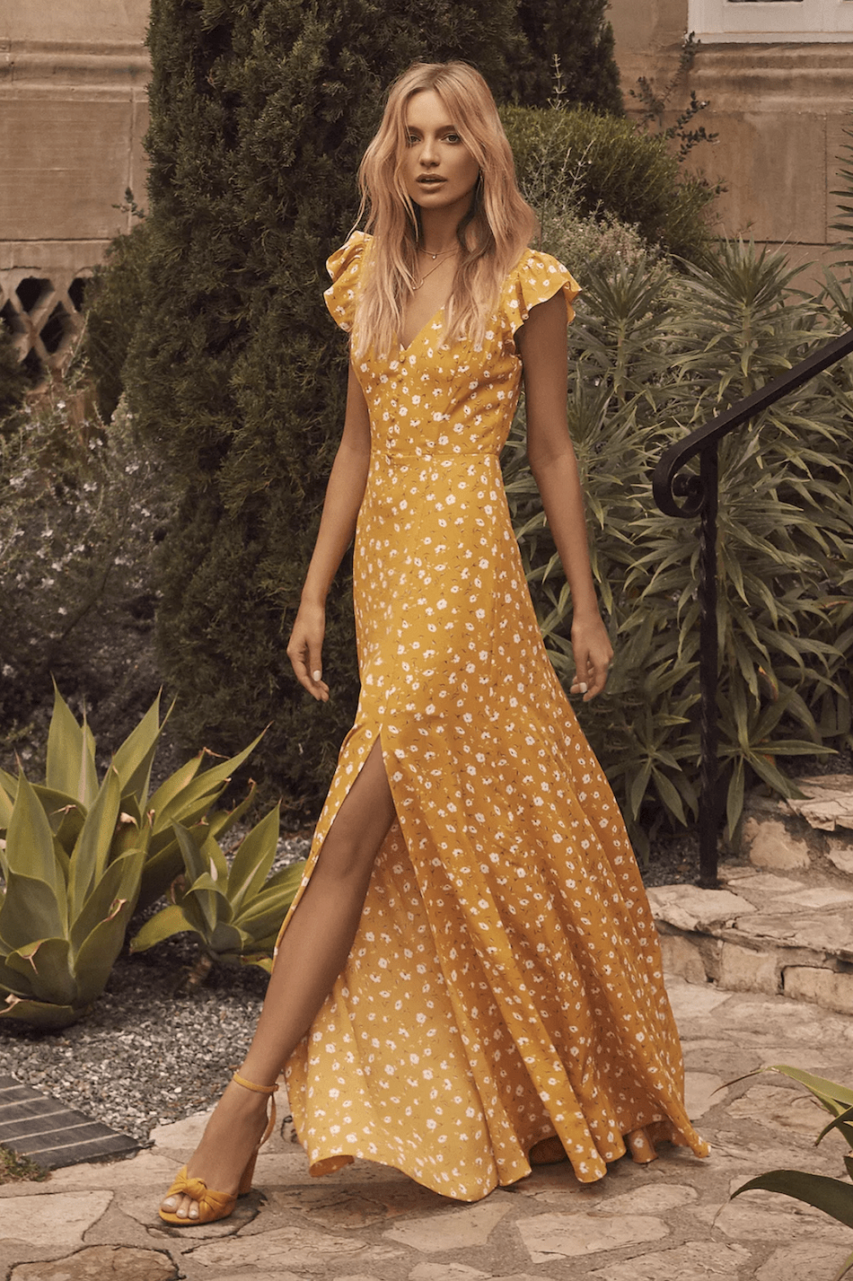 Positano Outfits Cute Dresses Fresh Picked Mustard Yellow Floral Print Backless Maxi Dress
