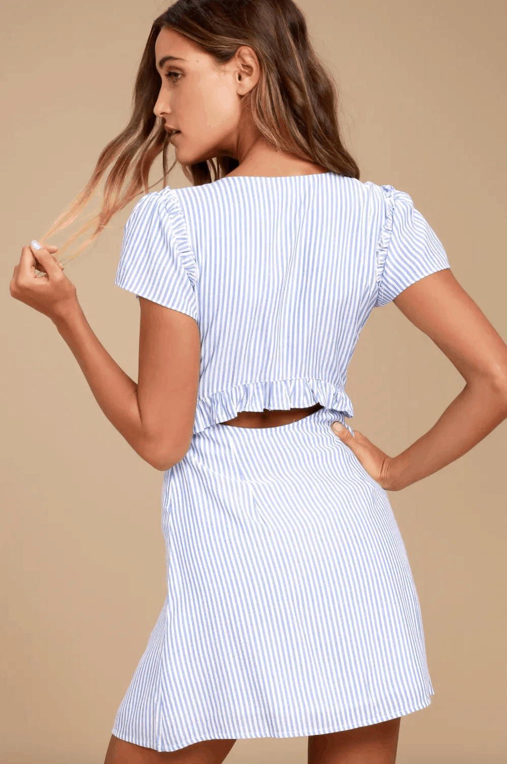 Positano Outfits Cute Dresses Seaport Light Blue and White Striped Tie Front Dress Lulus