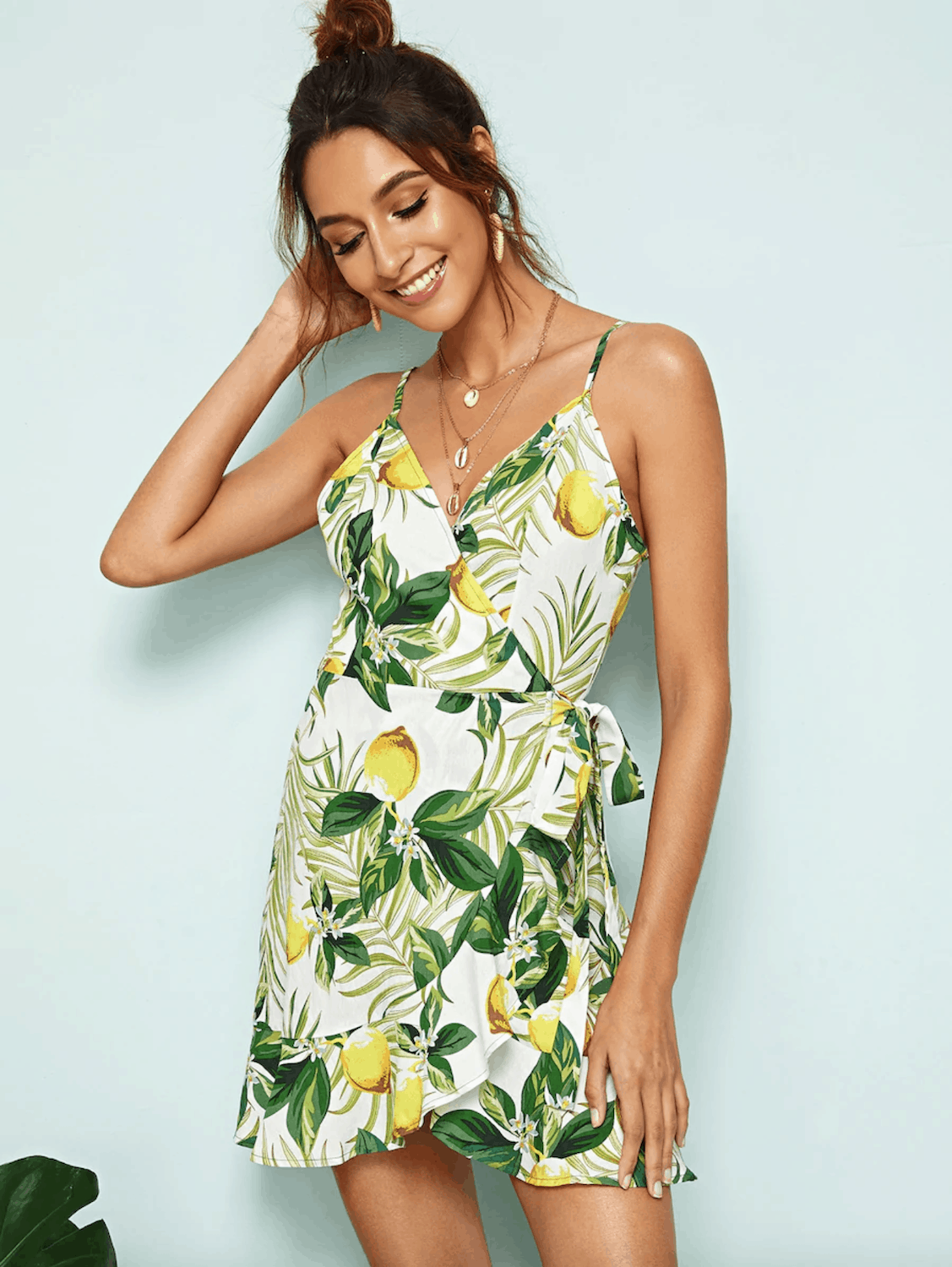 Positano Outfits Style Maxi Dresses Spring SHEIN Lemon Tie Side Ruffle Hem Wrap Cami Dress