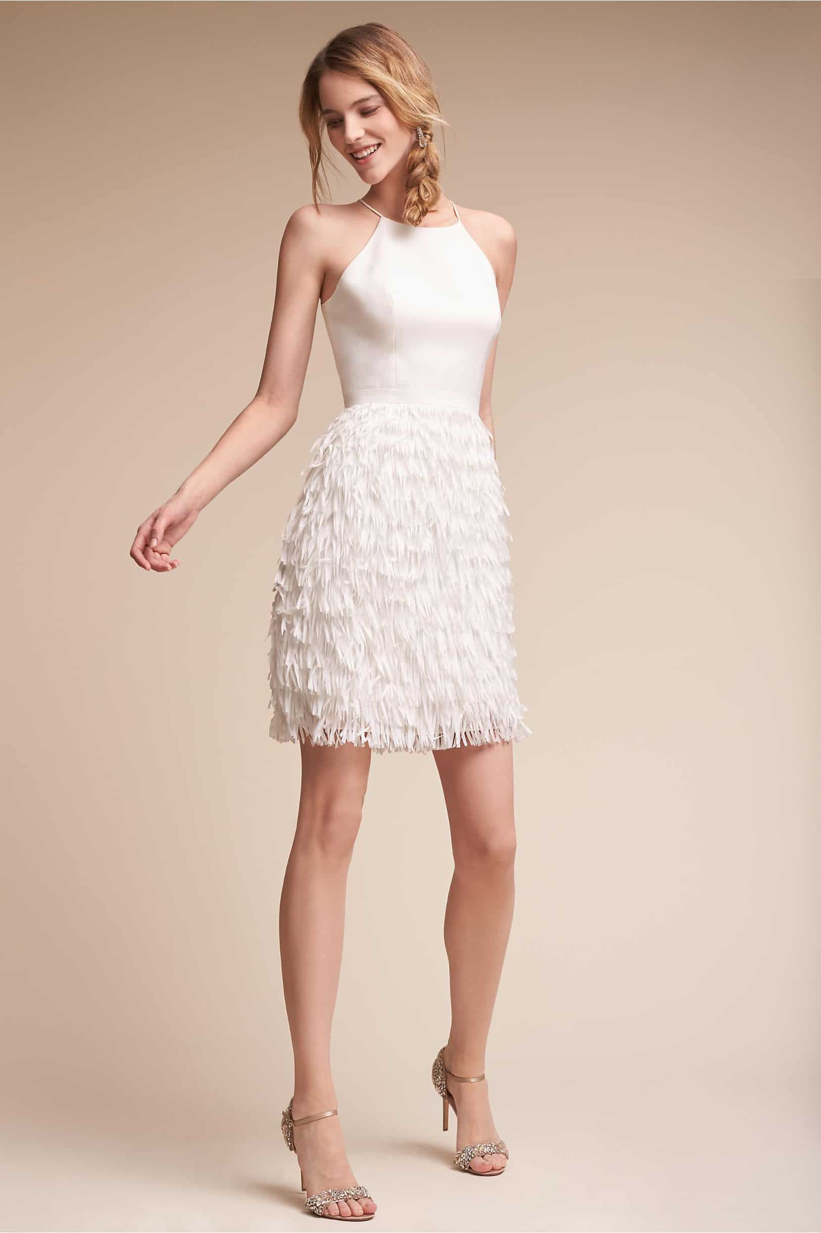 Prettiest City Hall Wedding Dresses and Courthouse Bridal Outfits Aidan Mattox Fringe Halter Neckline Promenade Dresses