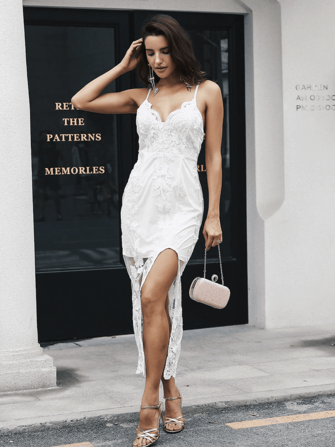 4094b7bfbdb Prettiest City Hall Wedding Dresses and Courthouse Bridal Outfits Simple  Embroidery Mesh Overlay Slit Cami Dress