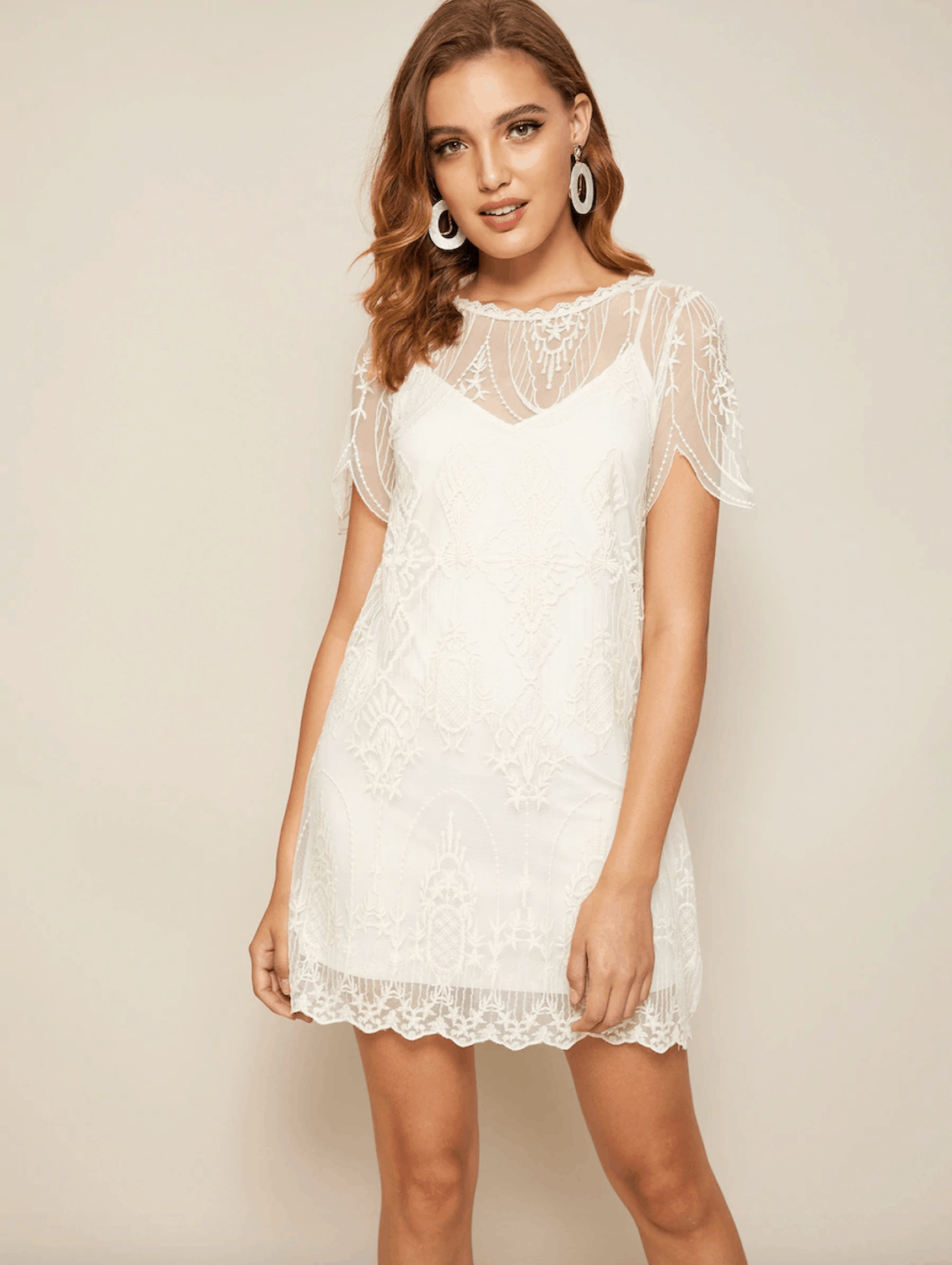 Prettiest City Hall Wedding Dresses and Courthouse Bridal Outfits Solid Cami Dress Embroidery Lace Dress