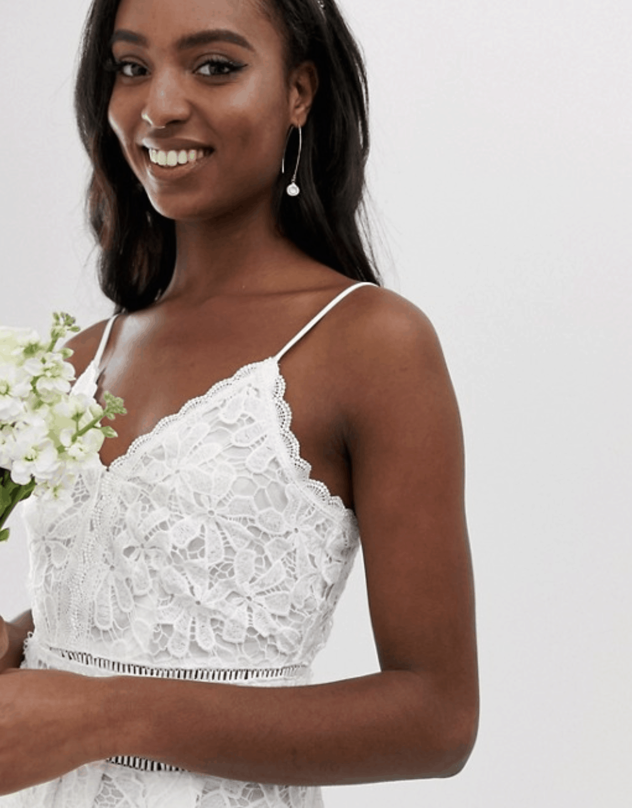 Prettiest City Hall Wedding Dresses and Courthouse Bridal Outfits Y.A.S Tall Floral Lace Cami Dress in White