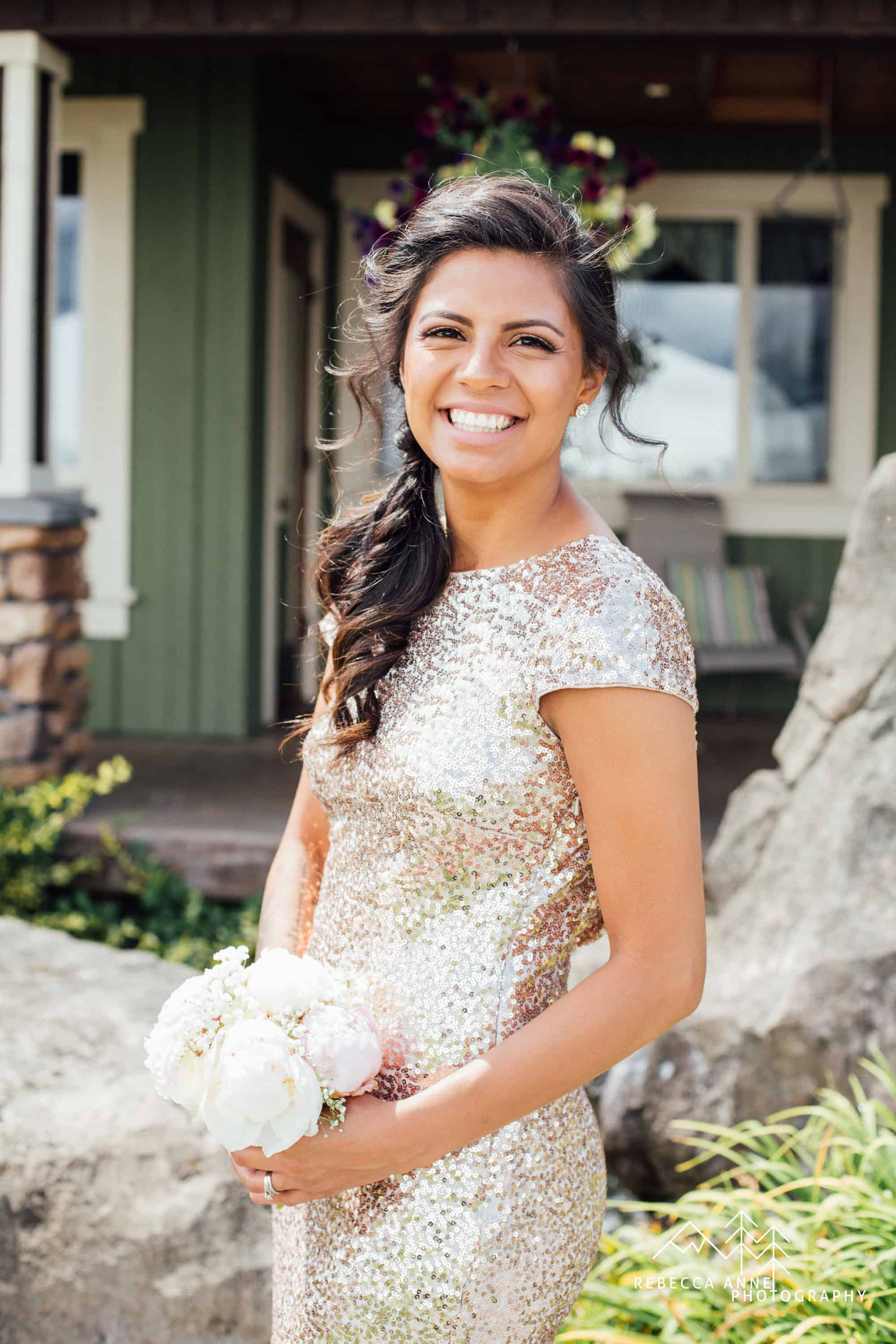 Rose Gold Sequin Bridesmaid Dress Rebecca & Kevin Rose Gold Wedding at Mountain View Manor Rebecca Anne Photography