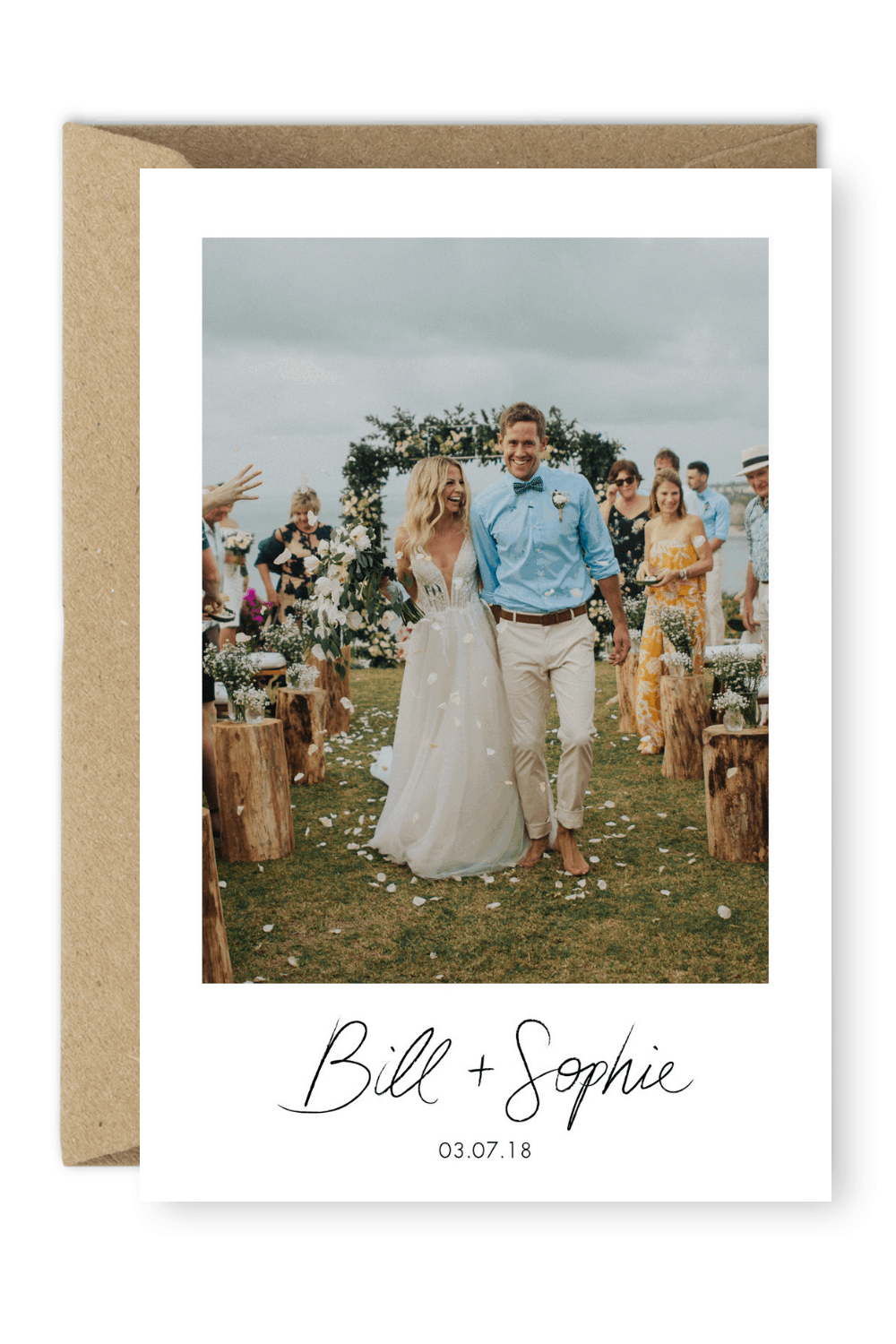 Rustic Wedding Thank You Card with Photo Terralogical Photography For the Love of Stationery