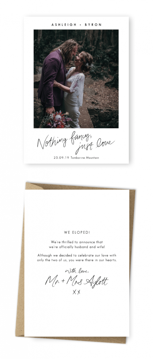Sending Out Elopement Announcements For the Love of Stationery Wildhearted and Hitched