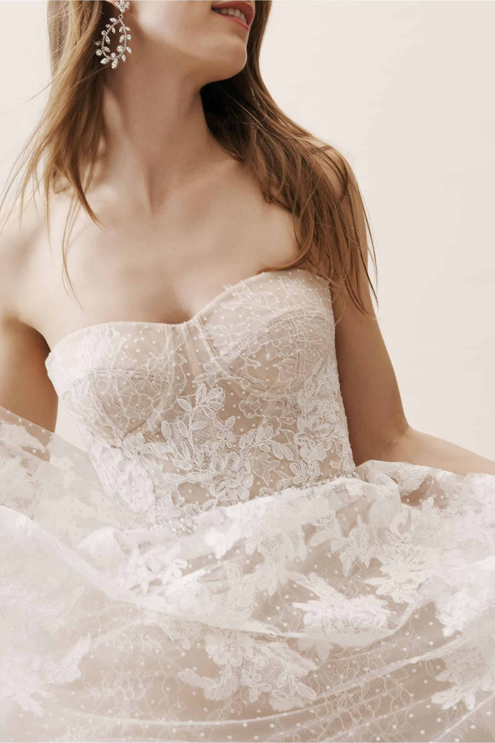 Strapless Wedding Dress Nude Bridal Gown Chantilly Lace Swiss Dot Tulle Geneva Gown BHLDN Watters