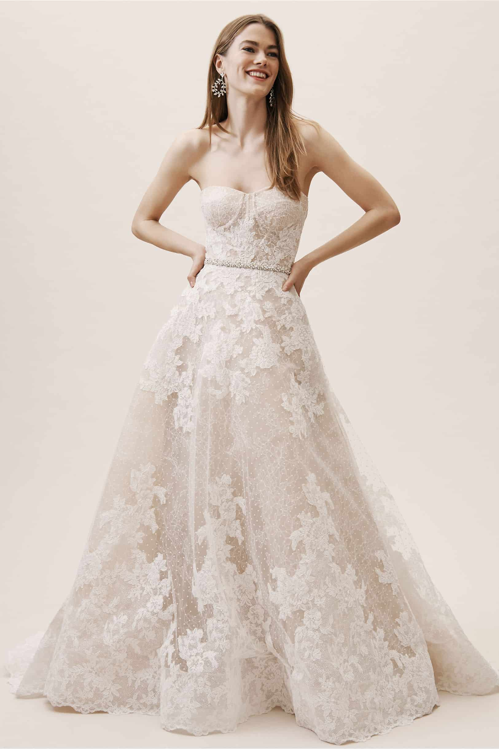 Strapless Wedding Dresses Nude Bridal Gown Chantilly Lace Swiss Dot Tulle Geneva Gown BHLDN Watters