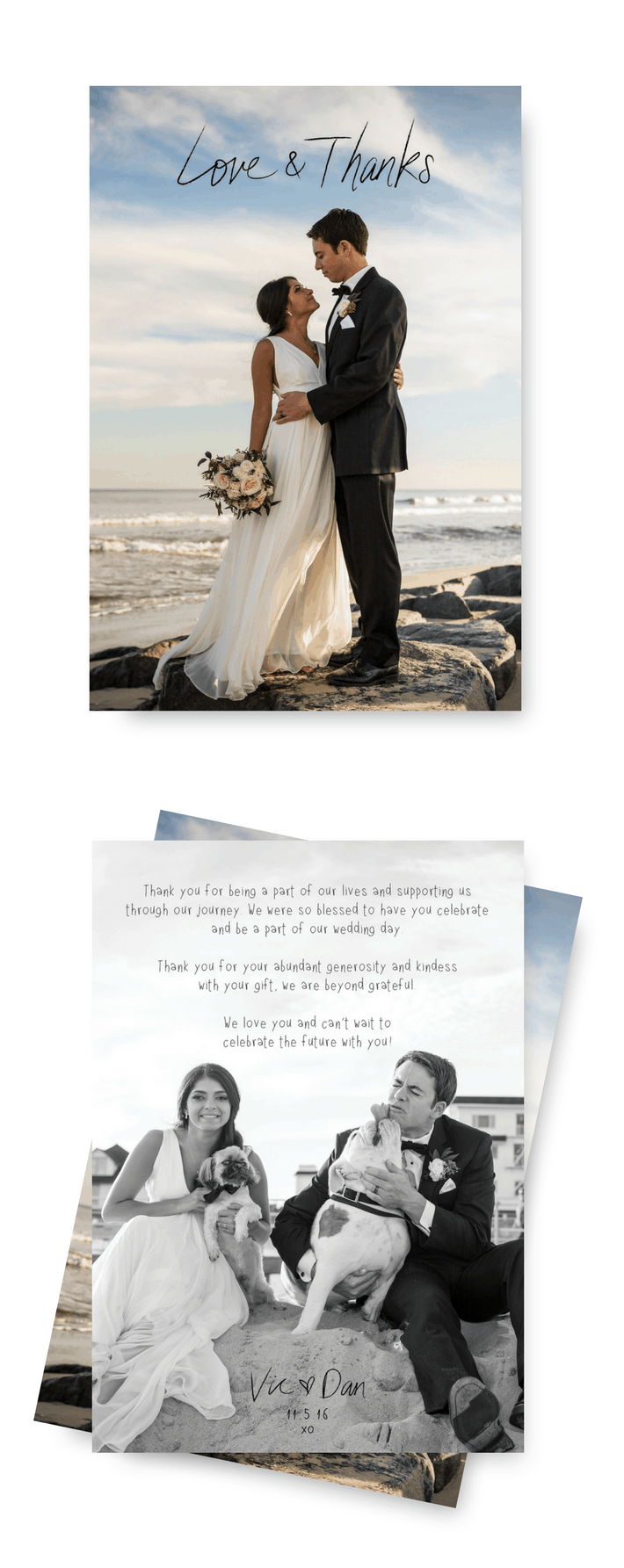 Stunning Beach Wedding Thank You Cards