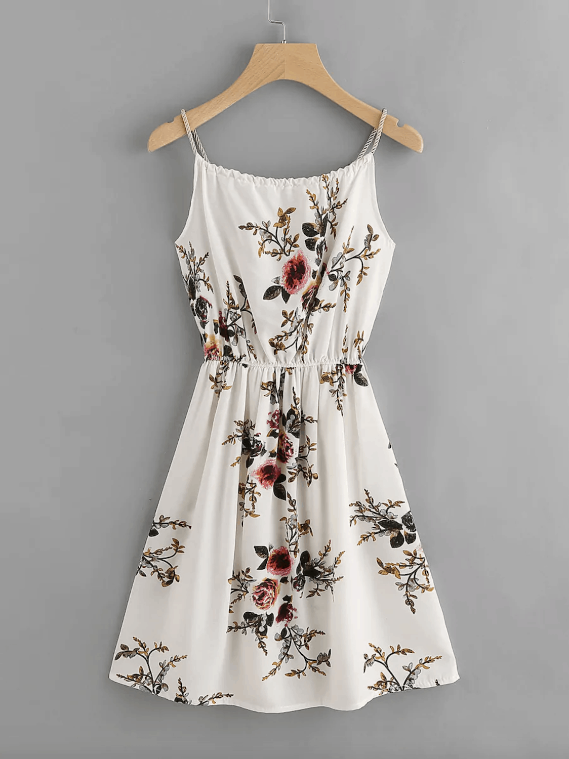 Summer Honeymoon Outfits Floral Print Self Tie Cami Dress