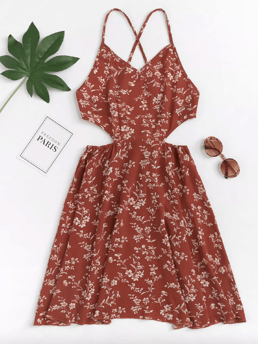Summer Honeymoon Outfits Maroon Floral Print Cut Out Dress