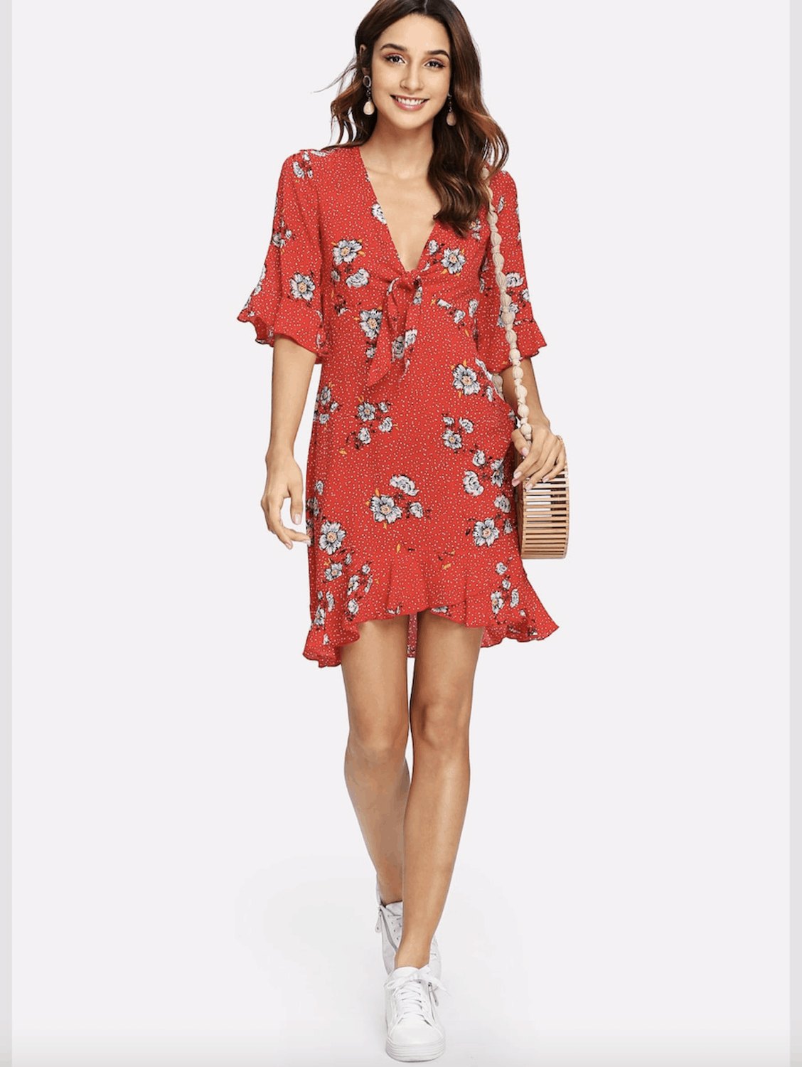 Summer Honeymoon Outfits Red Floral Print Dress