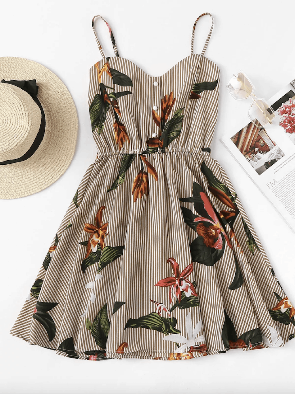 Summer Honeymoon Outfits Striped Floral Print Cami Dress