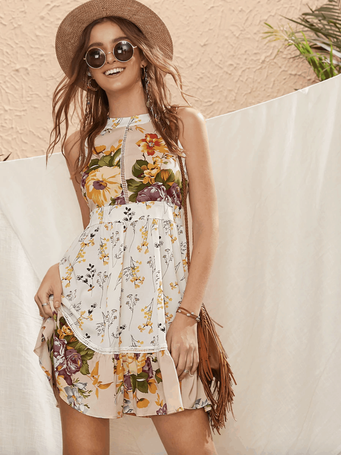 Summer Honeymoon Outfits for Her Floral Print Sleeveless Halter Dress