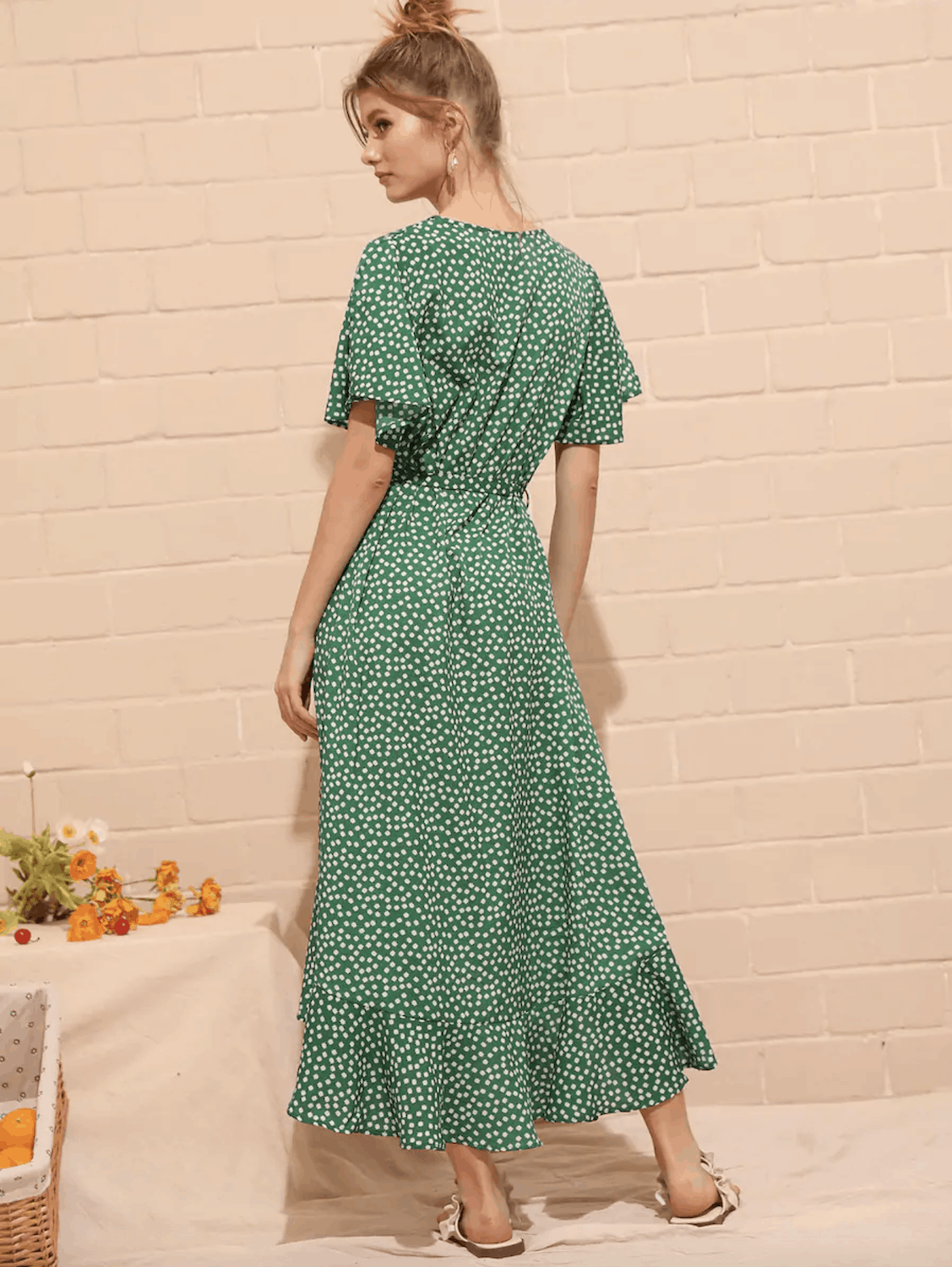 Summer Honeymoon Outfits for Her Green Ditsy Floral Print Wrap Dress 3