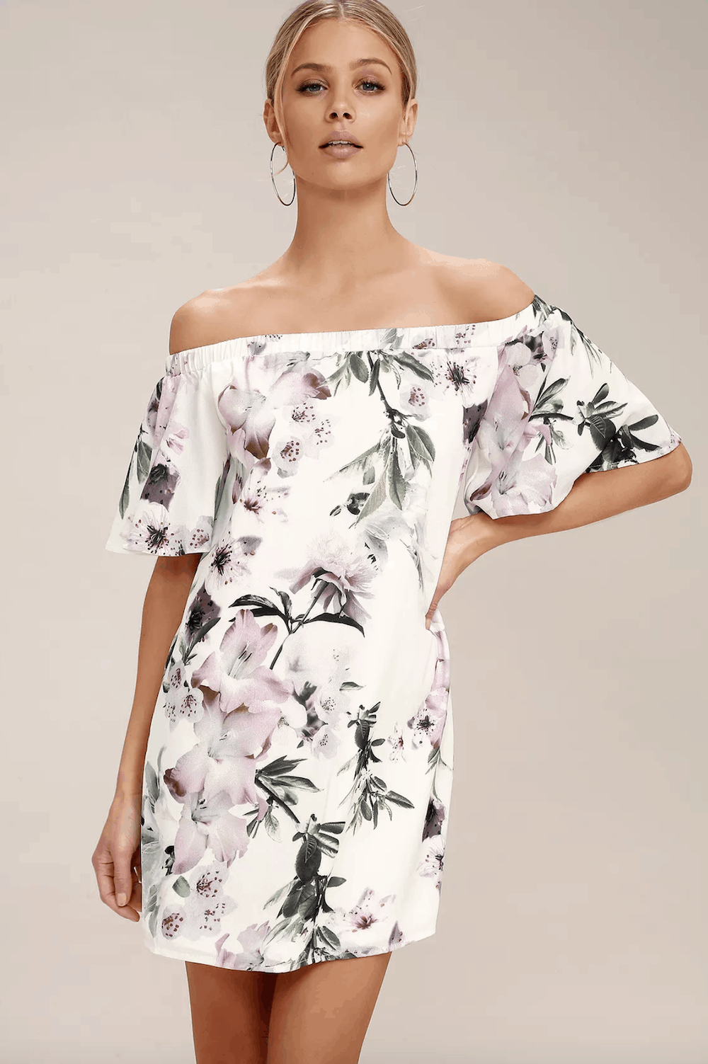 Summer Honeymoon Outfits for Her Ivory Floral Print Off The Shoulder Shift Dress