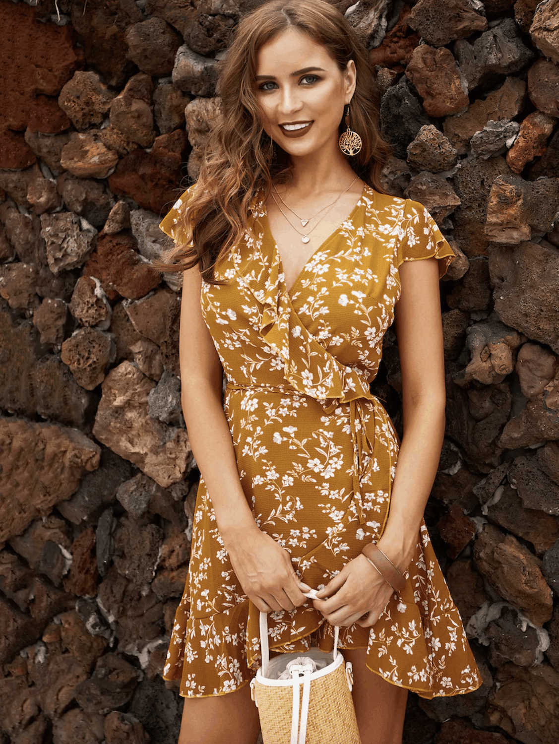 Summer Honeymoon Outfits for Her Mustard Ditsy Floral Ruffle Trim Wrap Dress