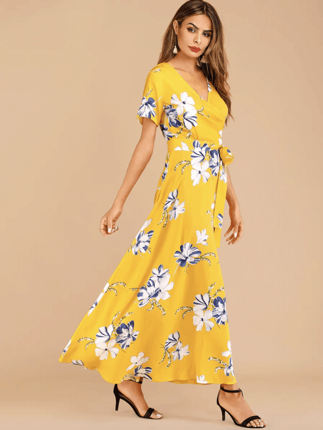Summer Honeymoon Outfits for Her Yellow Floral Print Belted Dress 2