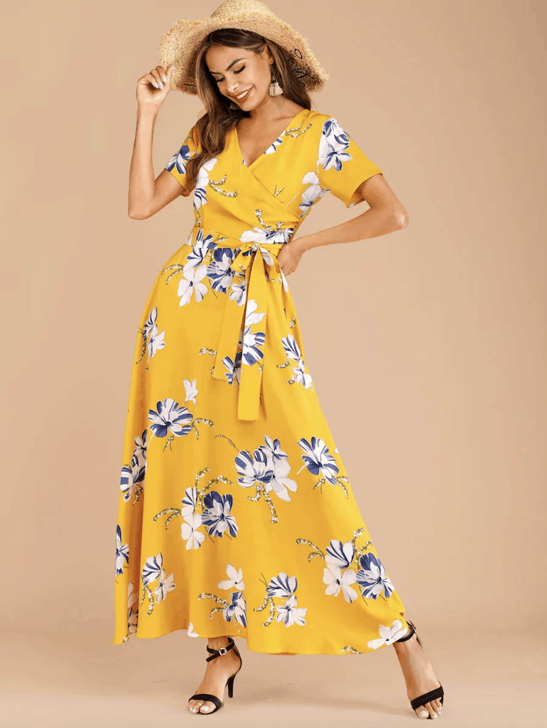 Summer Honeymoon Outfits for Her Yellow Floral Print Belted Dress
