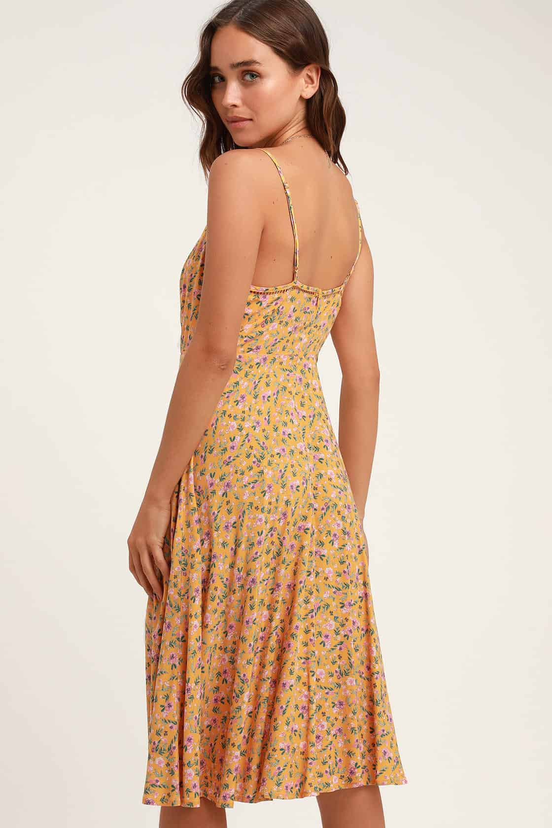 Summer Honeymoon Outfits for Her Yellow Floral Print Midi Dress 2