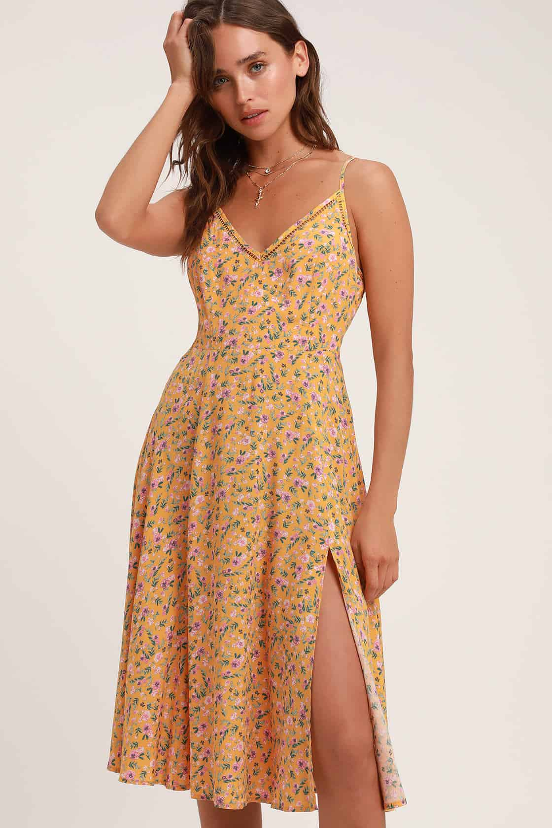 Summer Honeymoon Outfits for Her Yellow Floral Print Midi Dress