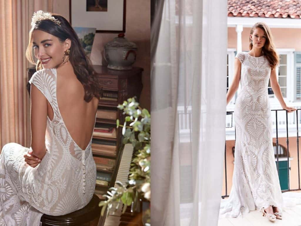 Vintage Inspired Wedding Dresses Cap Sleeves Lace Backless Bohemian Bridal Gown