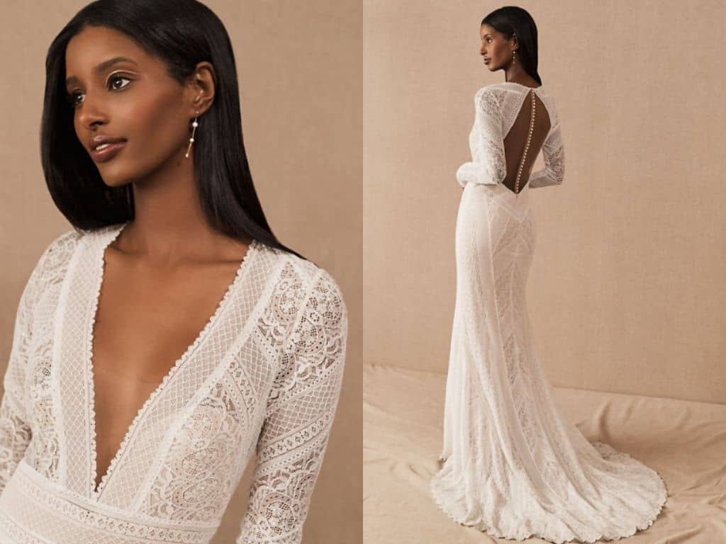 Vintage Inspired Wedding Dresses Long Sleeves Lace Bohemian Bridal Gown