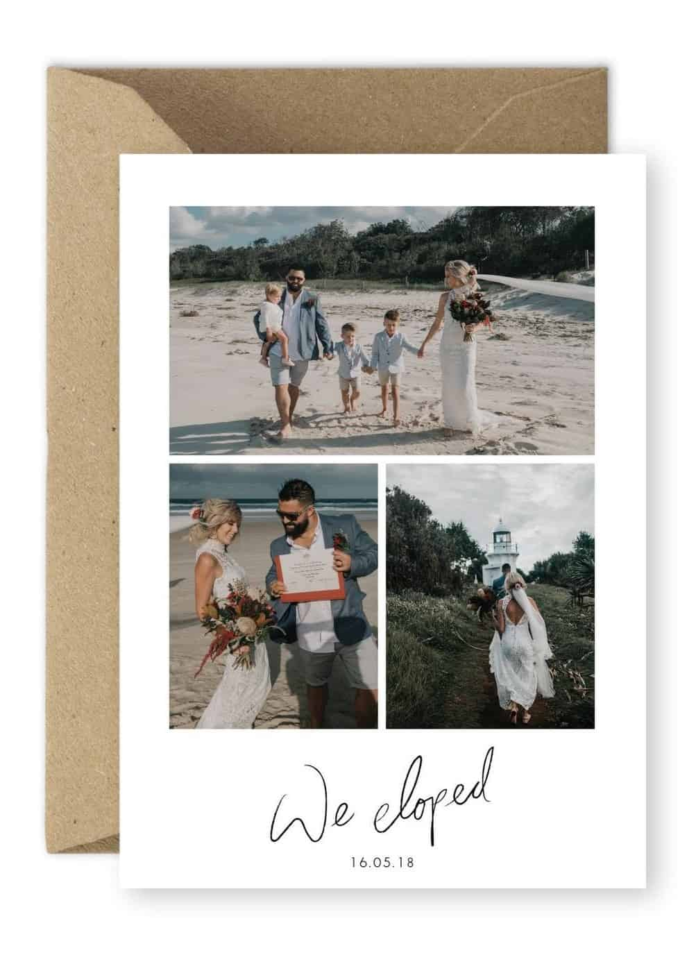 We Eloped Announcement Destination Wedding Invitation Creative Way to Announce Your Elopement Wildhearted and Hitched