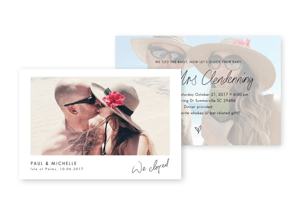 We Eloped Destination Wedding Invitation Elopement Announcement Beach Wedding Inspiration For the Love of Stationery