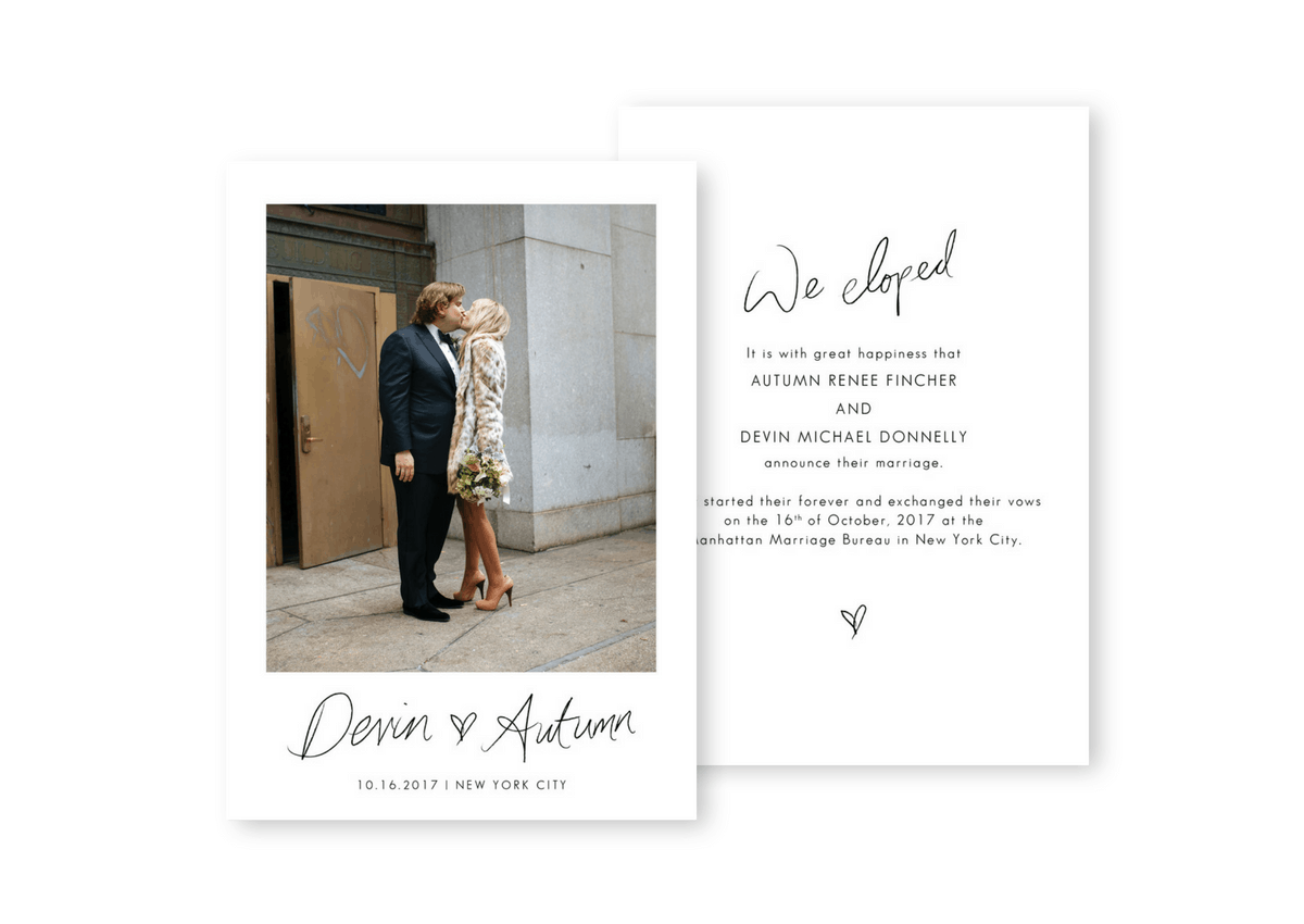 We Eloped Destination Wedding Invitation Elopement Announcement Intimate Wedding Inspiration For the Love of Stationery