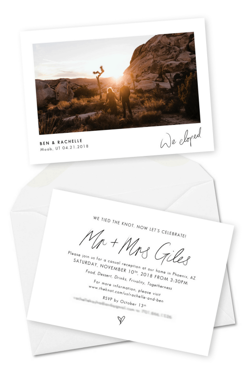 Wedding Announcement Cards and Elopement Invitation Ideas We Eloped The Hearnes Photography
