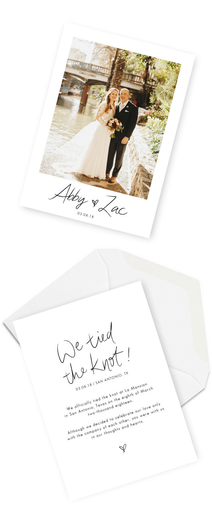 Wedding Announcement Cards and Elopement Invitation Ideas We Eloped We Tied The Knot