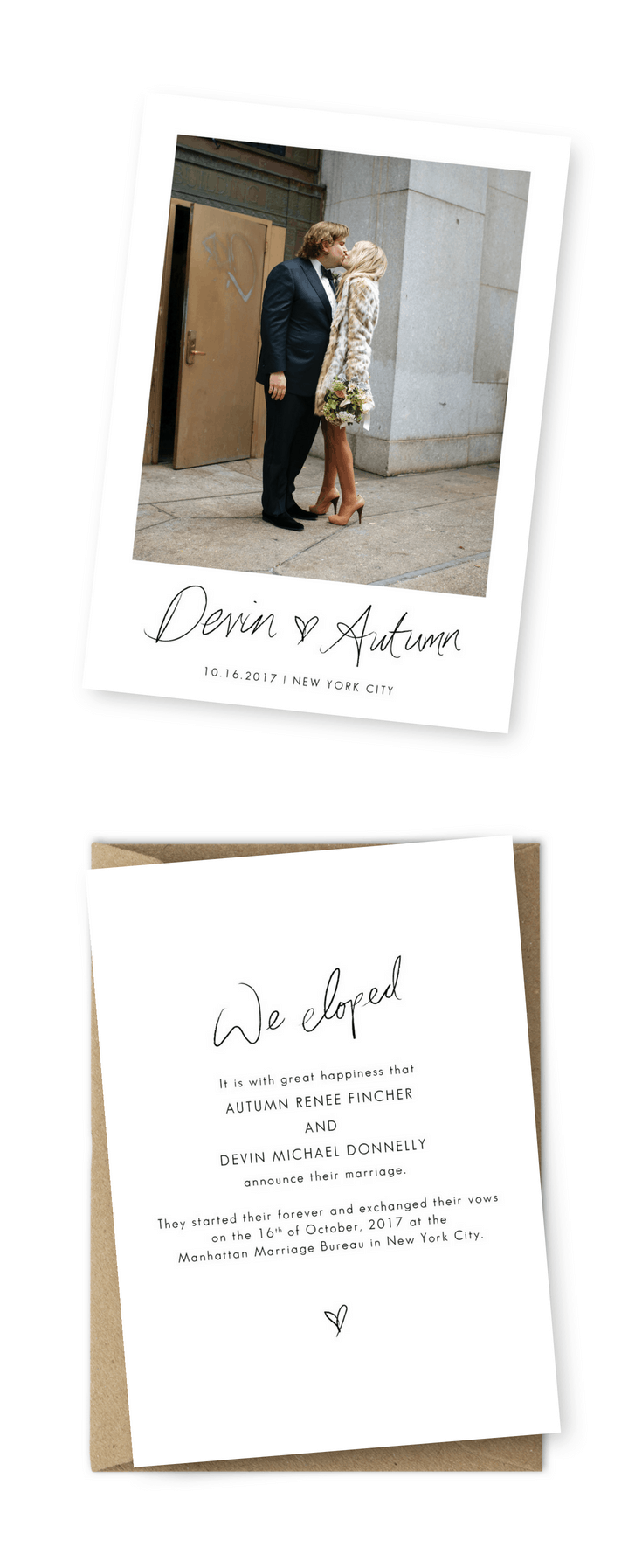 Wedding Announcement Cards and Elopement Invitation Ideas We Tied The Knot We Eloped