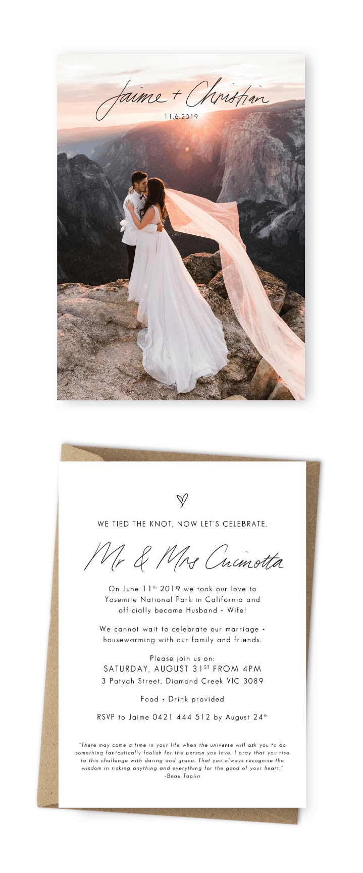 Wedding Announcement Cards and Elopement Invitation Ideas Yosemite Wedding Photographer The Hearnes