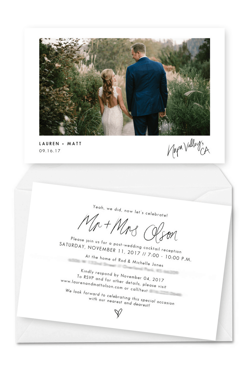 Wedding Announcement Cards and Elopement Invitations Ideas We Eloped We Tied The Knot